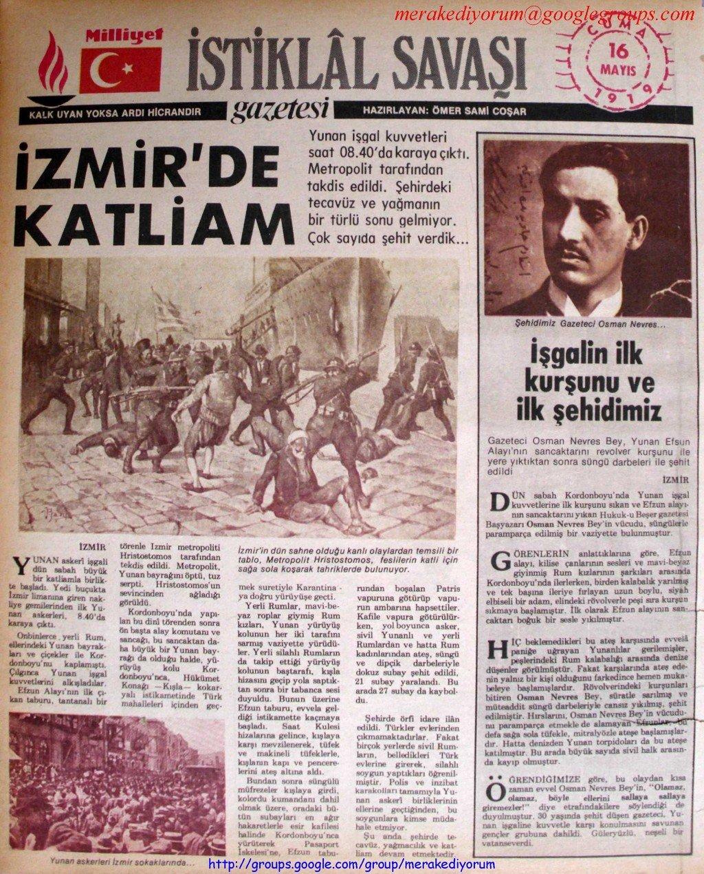 istiklal savaşı gazetesi - 16 mayıs 1919