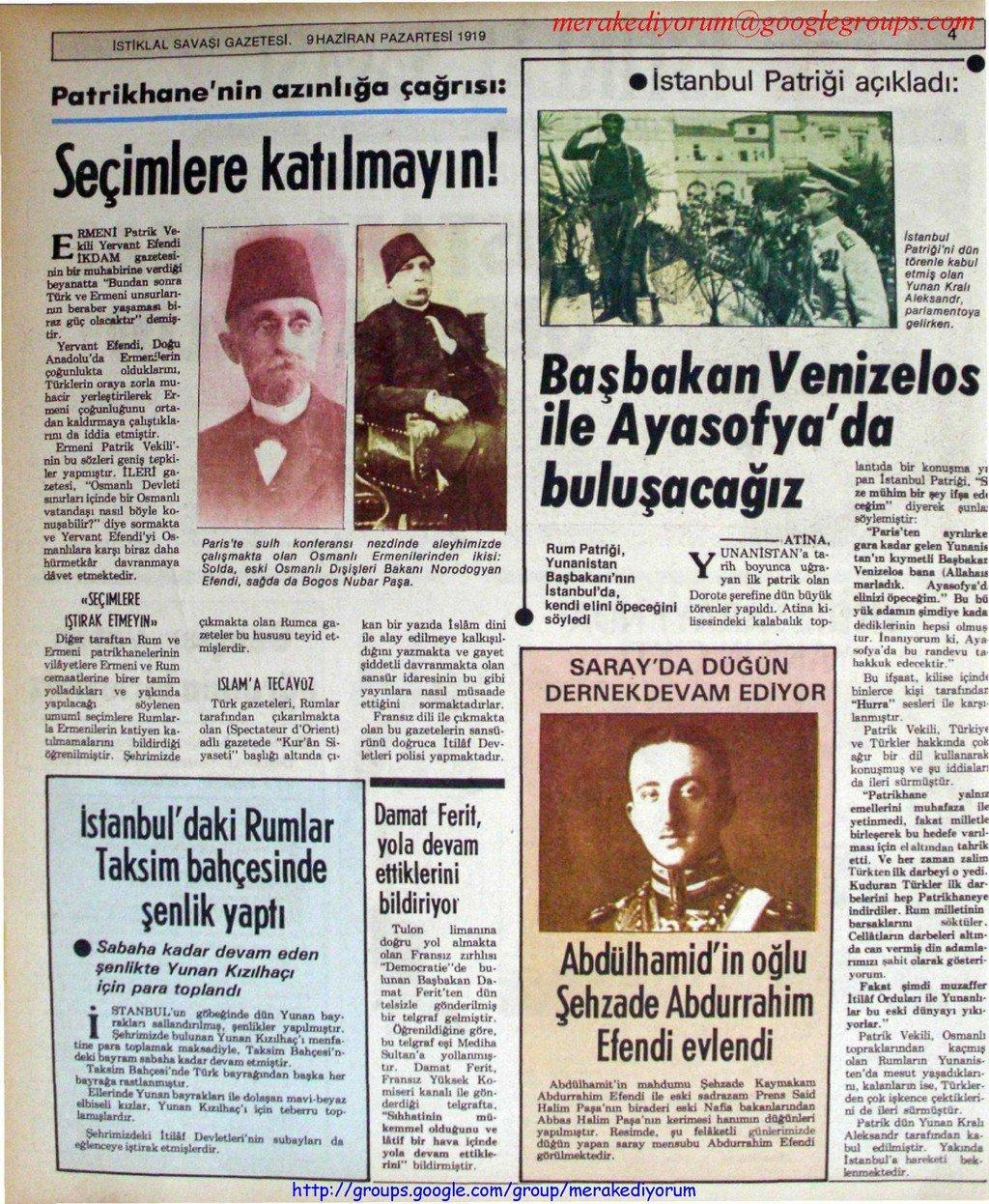 istiklal savaşı gazetesi - 9 haziran 1919