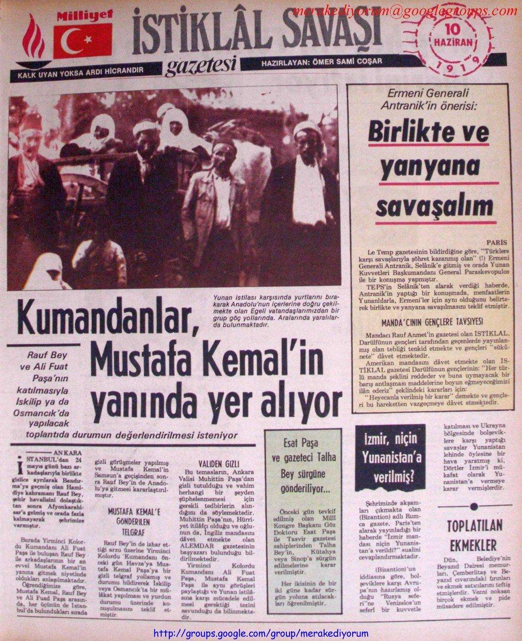 istiklal savaşı gazetesi - 10 haziran 1919