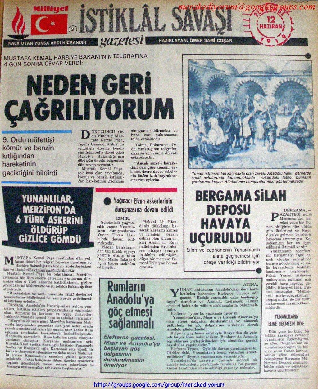 istiklal savaşı gazetesi - 12 haziran 1919