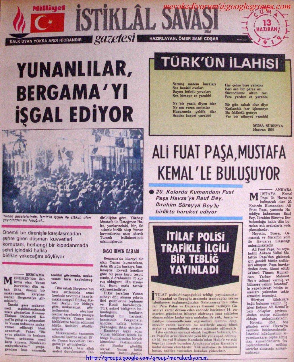 istiklal savaşı gazetesi - 13 haziran 1919