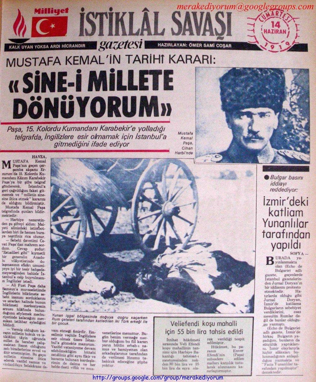 istiklal savaşı gazetesi - 14 haziran 1919
