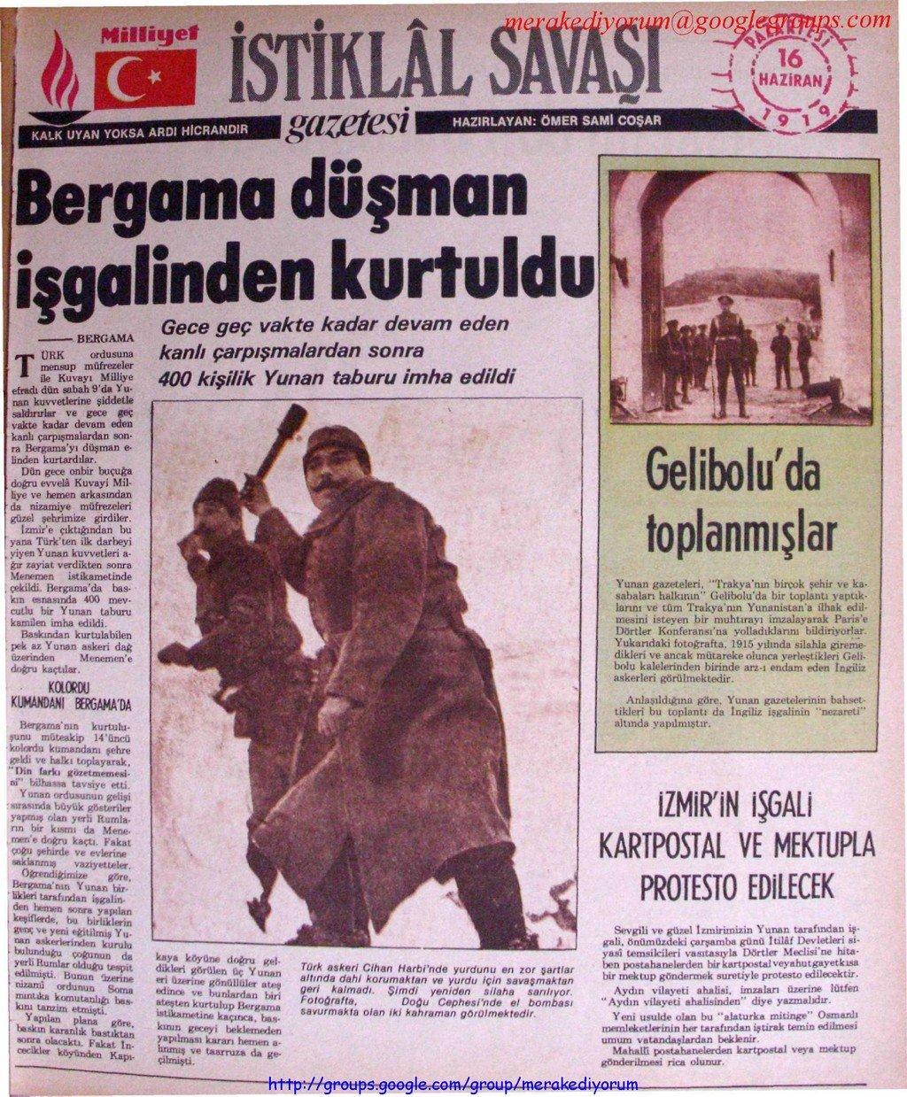 istiklal savaşı gazetesi - 16 haziran 1919