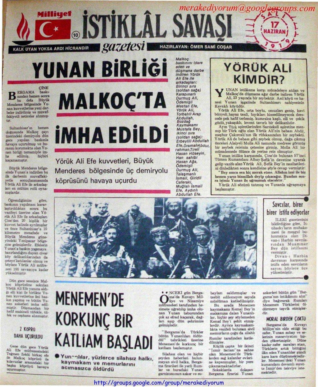 istiklal savaşı gazetesi - 17 haziran 1919