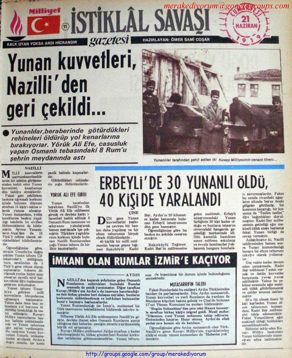 istiklal savaşı gazetesi - 21 haziran 1919