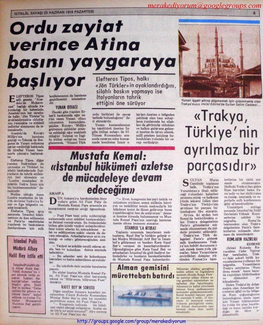 istiklal savaşı gazetesi - 23 haziran 1919