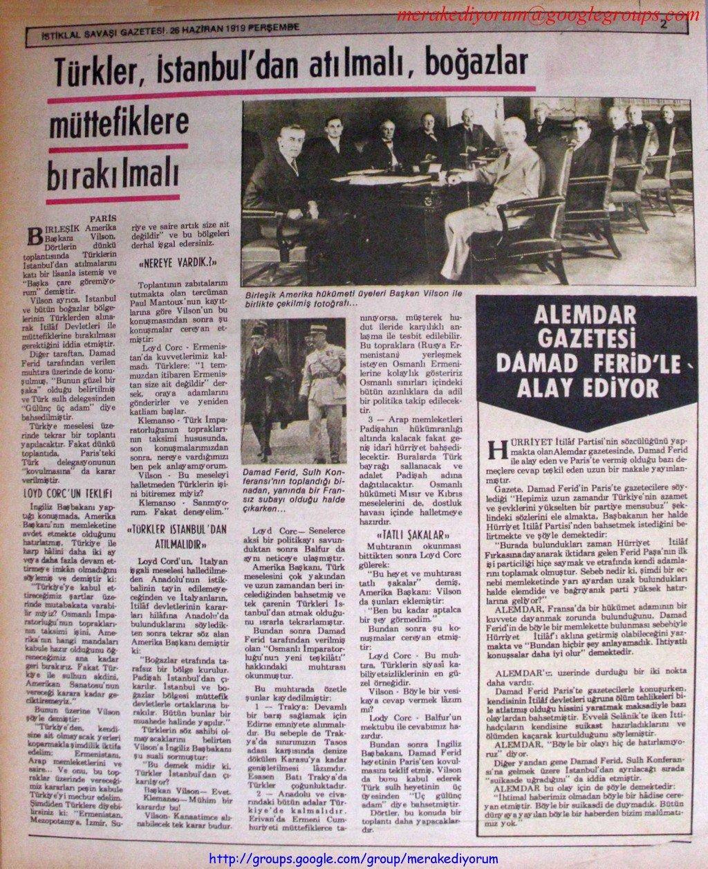 istiklal savaşı gazetesi - 26 haziran 1919
