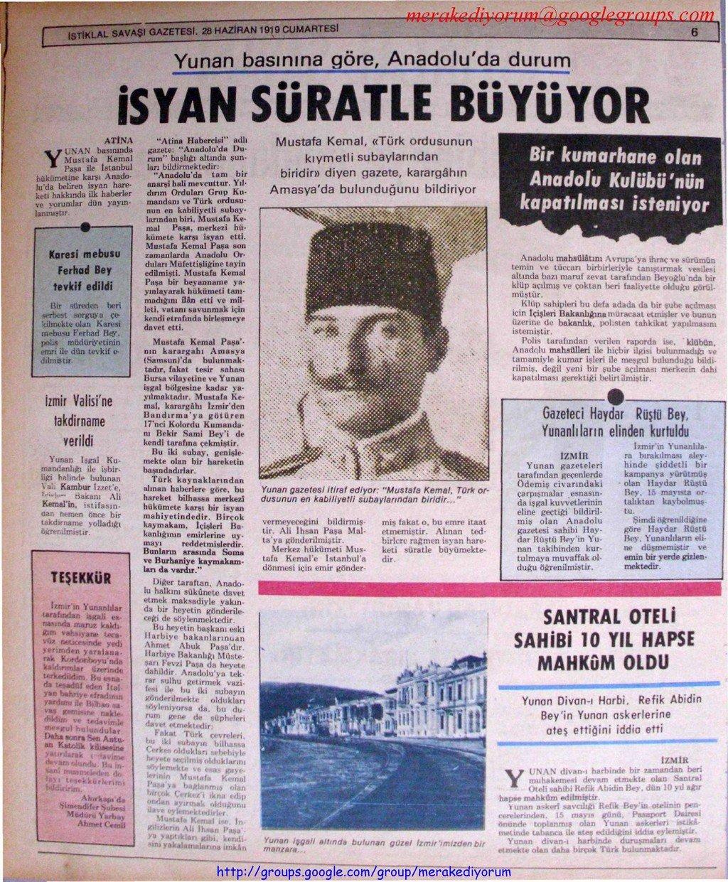 istiklal savaşı gazetesi - 28 haziran 1919