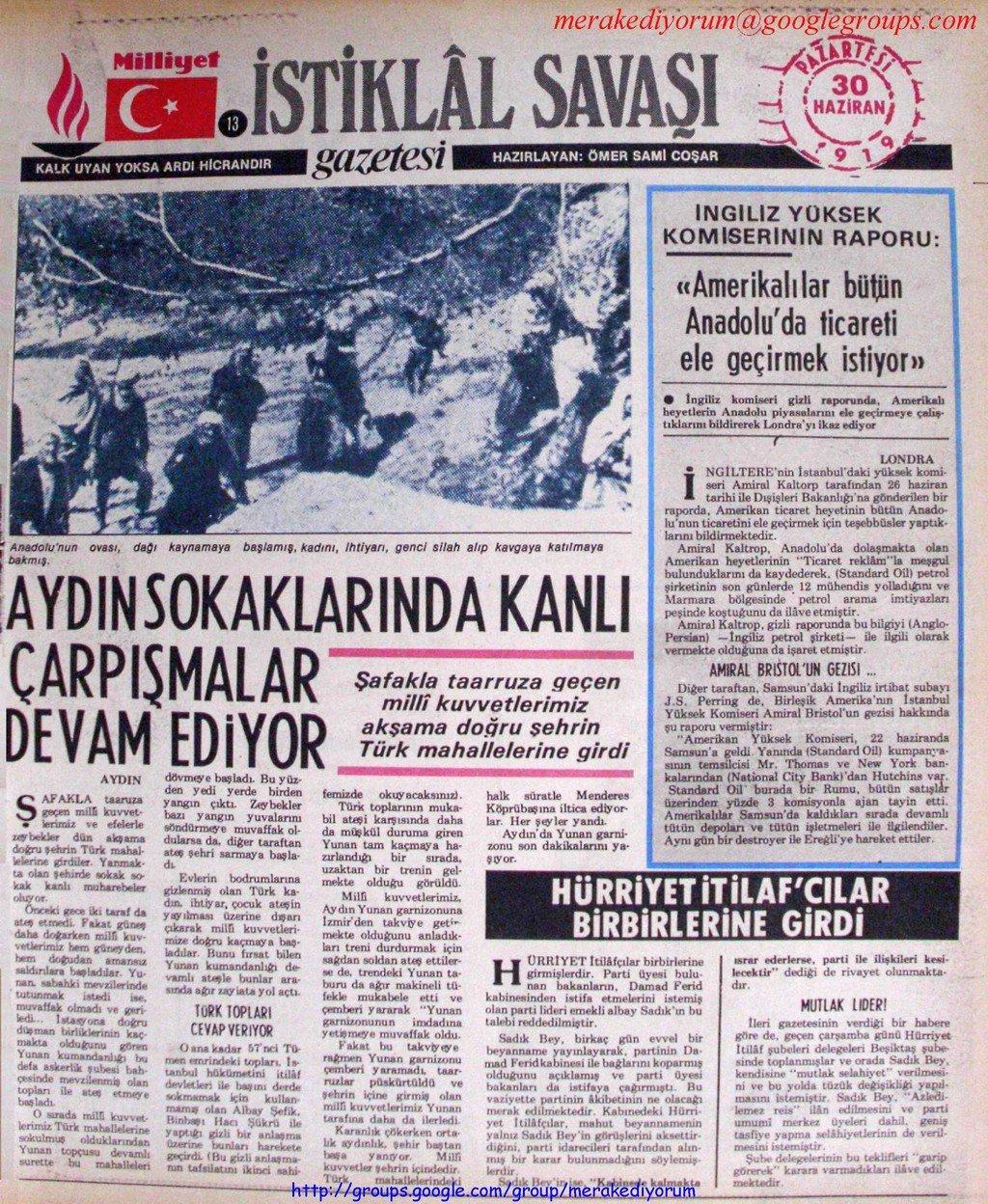 istiklal savaşı gazetesi - 30 haziran 1919